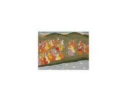 12. an illustration from the harivamsa: krishna and gopis dancing on the banks of the yamuna