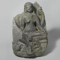 1309. a black stone stele depicting a matrika india, 7th century