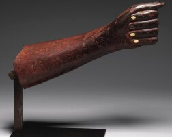 13. an egyptian wood forearm from an over-lifesize figure of a man, middle kingdom, probably 12th dynasty, 1938-1759 b.c.