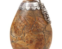 3. a silver-mounted carved wood circumcision flask