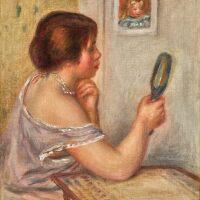 122. pierre-auguste renoir | marie dupuis tenant un miroir avec un portrait de coco or gabrielle tenant un miroir avec un portrait de coco