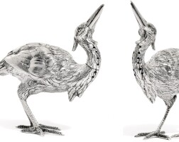 12. a pair of victorian novelty silver pepperettes modelled as crane birds, thomas johnson, london, 1886