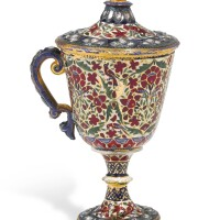 716. a diamond-set enamelled gold goblet and lid, jaipur, circa 1900