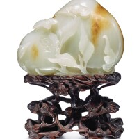 6. awhite and russet jade 'peach and pomegranate' group qing dynasty, qianlong period |