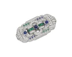 57. sapphire, emerald and diamond brooch/pendant, 1930s
