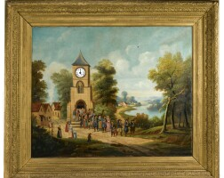492. a french louis philippe polychrome musical angulus striking framed wall clock circa 1840