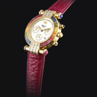 2030. chopard   yellow gold, diamond and multi-gem-set chronograph wristwatch with dateref 37/3183-2 case 367317 and 1215 imperiale circa 2000