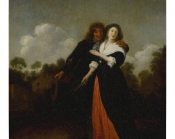 41. jan miense molenaer | a happy couple in a landscape