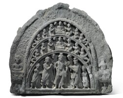 902. a grey schist antefix of a scene of buddha and bodhisattvas ancient region of gandhara, kushan period, 2nd/3rd century  