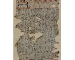 23. a painted linen mummy wrapping fragment, 18th dynasty, probably reign of amenhotep ii, 1540-1292 b.c.