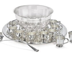 2. an american silver fourteen-piece punch set withsilver-plated tray, international silver co., meriden, ct and e.g. webster & son, brooklyn, ny, dated 1940 |