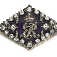72. enamel, ruby and diamond brooch, 1930s