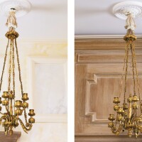 1. a pair of french gilt-bronze eight-light chandeliers, paris, late 19th century |