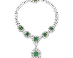 94. 鉑金及18k黃金鑲祖母綠配鑽石項鏈