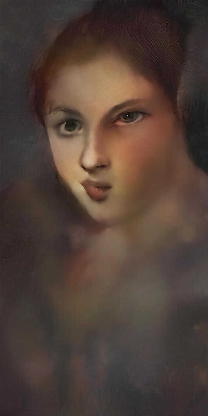 A portrait of a female generated by Mario Klingemann's artificial intelligence installation.