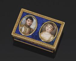 46. 青金石鑲黃金雙人肖像鼻煙盒,應製於佛羅倫斯,約1810年 | 青金石鑲黃金雙人肖像鼻煙盒,應製於佛羅倫斯,約1810年