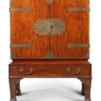 16. a george i style mahogany and scarlet lacquer cabinet on stand by henry samuel, late 19th century |