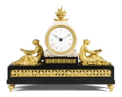 3. an ormolu and black and white marble mantel timepiece, thomas weeks, london, circa 1820