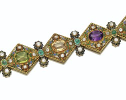 210. gem set and diamond austro-hungarian bracelet, circa 1860