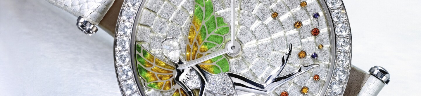 Van Cleef & Arpels, A RARE LIMITED EDITION WHITE GOLD DIAMOND AND SAPPHIRE SET WRISTWATCH WITH ENAMEL DIAL REF HH42744 CASE 3610165 NO 8/22 POETRY IN TIME FORTUNA FAERIE CIRCA 2013