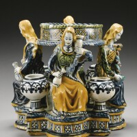 4. a rare and early faenza maiolica inkwell late 15th century