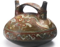 1. middle paracas polychrome double-spout vessel, ocucaje ca. 500-300 b.c.