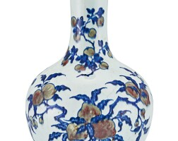 9. a copper-red and underglaze-blue vase, tianqiuping qing dynasty, 19th century |