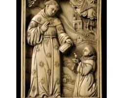 1. plaque en ivoire représentant saint nicolas de tolentino, travail sino-jésuite, xviie siècle