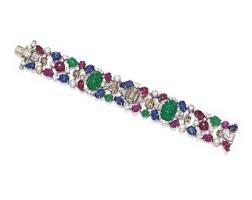 395. platinum, colored stone, pearl, colored diamond and diamond bracelet