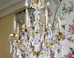 10. a gilt-bronze, rock crystal and amethyst chandelier in louis xvi style, in the manner of maison baguès, mid-20th century |