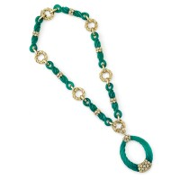 237. chrysoprase and diamond necklace, 'martinique', van cleef & arpels, 1974