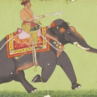 883. a nobleman riding a caparisoned bull elephant attributed to wajid