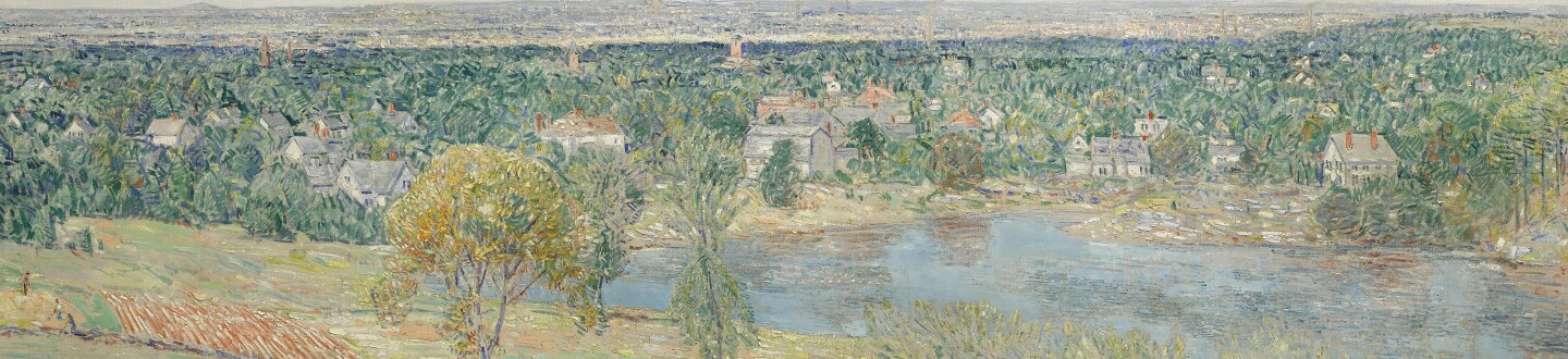 American painting of a landscape in an auction selling american impressionist painting