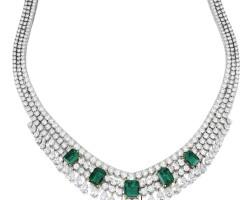 1718. an impressive emerald and diamond necklace, 'toscane', van cleef & arpels