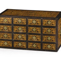 26. an indo-portugese gilt-brass, african blackwood, teak and bone cabinet, probably goa, late 17th century  