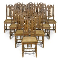 5. a set of thirteen victorian carved oak side chairs mid 19th century
