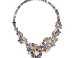 8. two-colored gold, multi-colored sapphire and diamond necklace