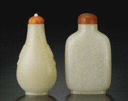 388. two white jade snuff bottles qing dynasty, 1770-1900