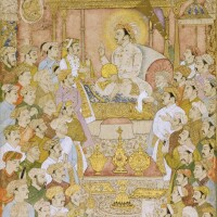 203. jahangir enthroned, with courtiers in attendance, mughal, probably lucknow, late 18th-early 19th century