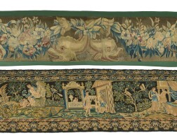 17. a needlepoint tapestry portraying cupid and psyche, french, 17th century [two works]  