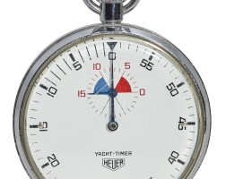 1. heuer   a large stainless steel stopwatch with 30 minute counteryacht-timer circa 1970