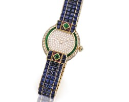 12. 18 karat gold, colored stone and diamond 'st. petersburg' wristwatch, cartier