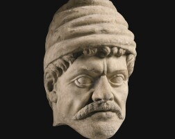 """32. a marble head of a barbarian (""""hasdrubal""""), first half of the 16th century, or earlier   a marble head of a barbarian (""""hasdrubal"""")"""