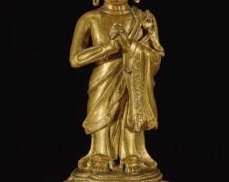 316. 十六 / 十七世紀 銅鎏金迦葉尊者立像  