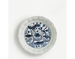 54. an exquisite blue and white 'fish pond' brush washer mark and period of xuande
