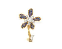 465. 18 karat gold, platinum, sapphire and diamond brooch, cartier, paris
