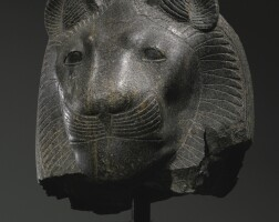 9. an egyptian diorite head of the goddess sekhmet, thebes, 18th dynasty, reign of amenhotep iii, 1390-1353 b.c.