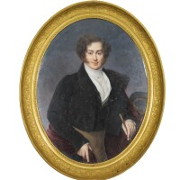 160. a large oval miniature on ivory of jean georges schickler, nicolas jacques (1780-1844), dated 1822 | a large oval miniature on ivory of jean georges schickler, nicolas jacques (1780-1844), dated 1822