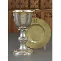 20. a german silver chalice and paten, dated 1813