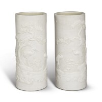 1502. a pair of carved biscuit 'longevity' hat stands qing dynasty, daoguang period |